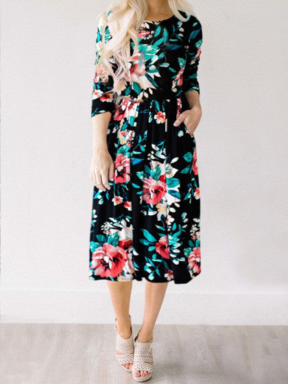 Fairytale Dream Black Floral Print Dress