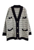 Pockets Button Plaid Cardigan