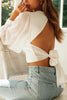 V Neck Puff Sleeve Backless Shirt