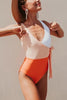 Color Block Lace Up One Piece Swimwear