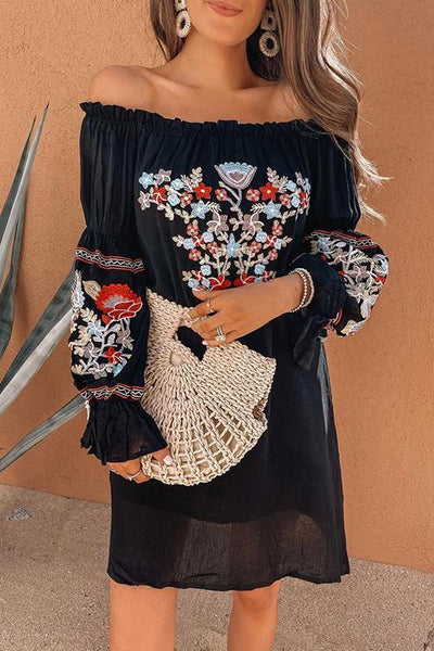Embroidery Off Shoulder Puff Sleeve Mini Dress