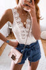 Lace Sleeveless V Neck Tank Top