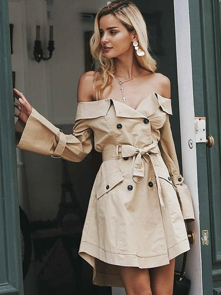 Sexy Strapless Shoulder Double Breasted Sash Casual Coats