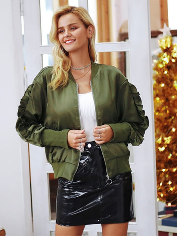 Army Green Bomber Basic Jacket