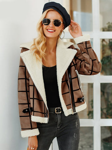 Fashion Women Faux Winter Jacket Turn-Down Casual Zipper Overcoat