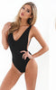 Black Lace Cutout Open-Back Swimsuit