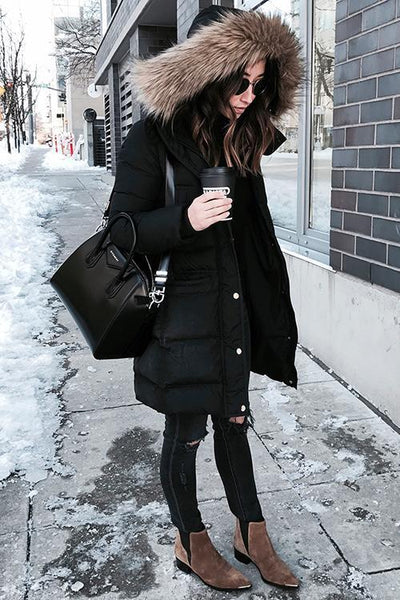 Thick Faux Fur Hoodie Coat