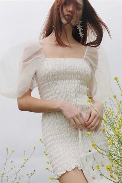Pure White Mesh Puff Sleeved Elastic Slim Dress