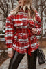 Plaid Woolen Coat With Belt