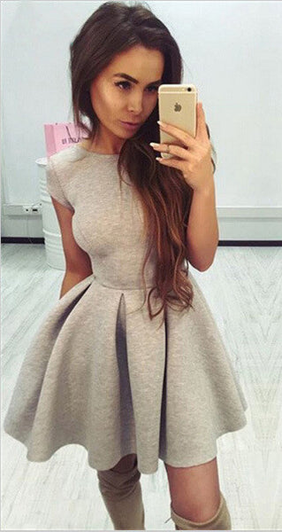 Fashion Solid Color Open Back Dress