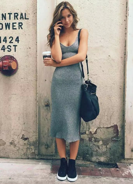 Knit Harmony Solid Color Dress