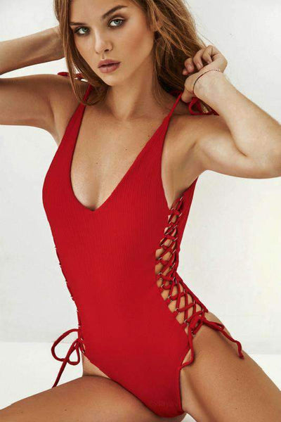 Strappy Side Lace-Up Hollow Out Swimsuit