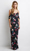 Vintage Floral Print Halter V neck Lace Up Maxi Dress