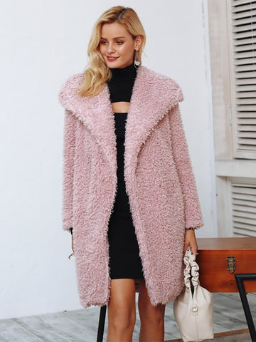 Warm Winter Faux Fur Coat Women Streetwear Elegant Long Coat