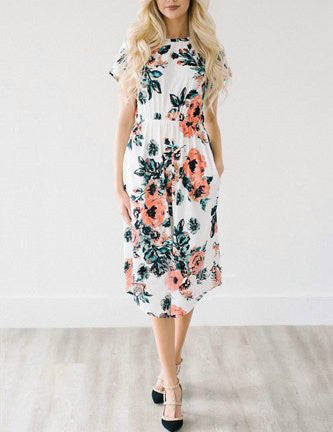 Casual Daily Round Neckline White Floral Print Dress