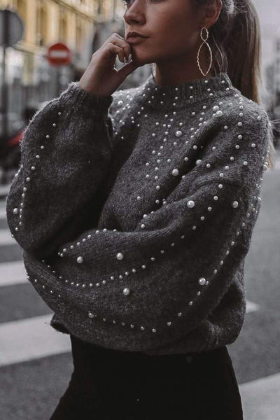Pearls Lantern Sleeve Loose Sweater