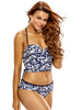 2pcs Lace Up Detail Printed Halter Tankini Swimsuit