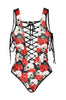 Deep Plunging Lace up Floral Print Swimsuit