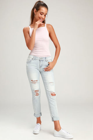 MIA LIGHT BLUE DISTRESSED SKINNY JEANS