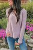 V Neck Long Sleeve Knit T Shirt