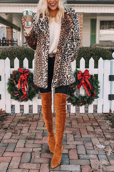 Pockets Leoaprd Faux Fur Lapel Coat