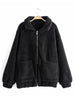 【Quality】Womens Long Sleeve Front Pockets Zipper Fleece Jacket