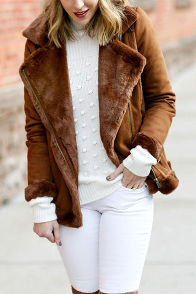 Motorcycle Lapel Faux Fur Coat