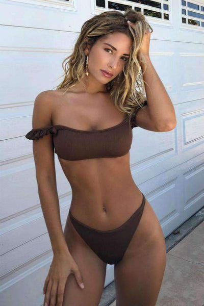Brown Slash Neck Cute Bikini Set