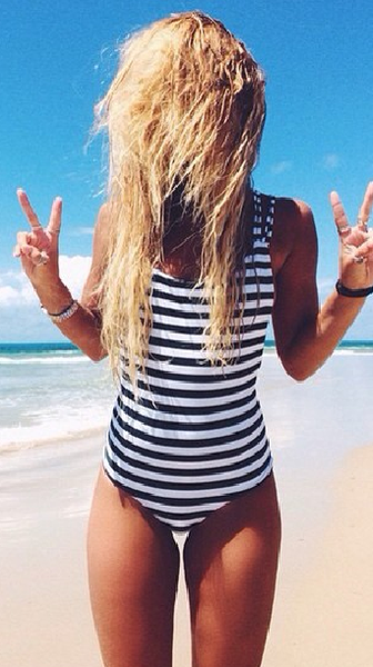 10cd886e53 Striped Strappy Back One Piece Swimsuits