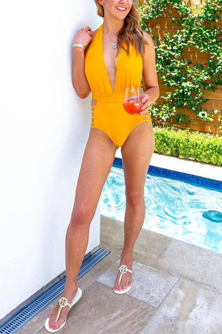 Deep V Neck Hollow One Piece Swimwear