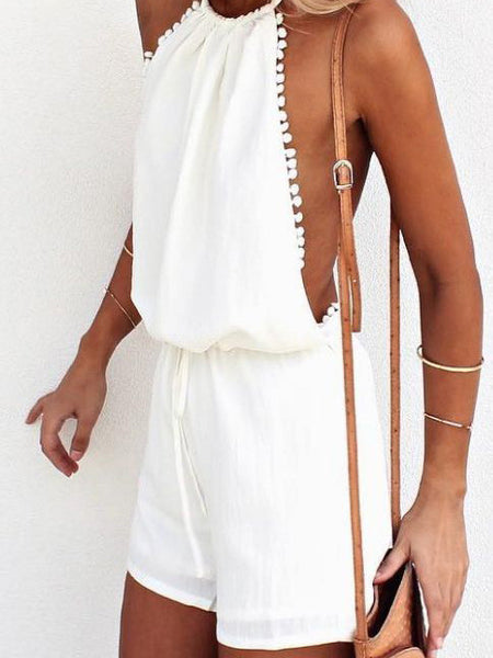 Sexy Hot Beach Halter Open Back Solid Color Romper