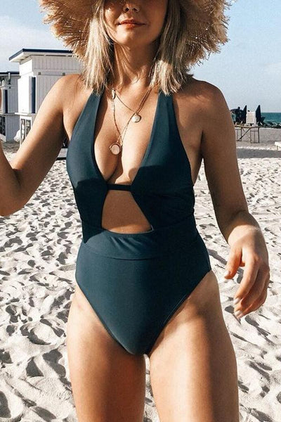 Deep V Neck One Piece Swimwear