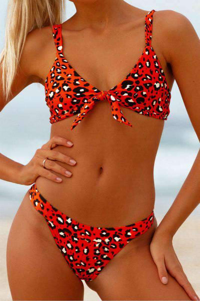 Red Leopard Print Strapless/Front Bow-Tie Bikini Set