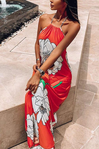 Floral Halter Neck Backless Maxi Dress