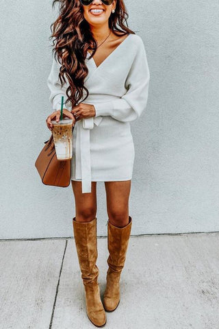 V Neck Off Shoulder Mini Dress