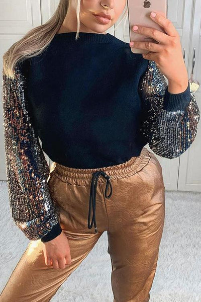 Sequin Puff Sleeve T Shirt