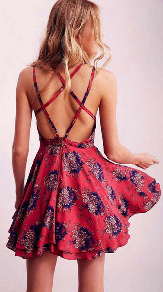 Women fashion Sleeveless Floral Print Backless Flare Dress