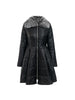 Solid Color Fur Collar Thicken Warm Casual Zipper Pocket Parka Coat