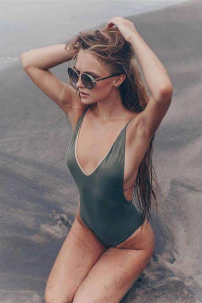 2 Color Patch Backless One-Piece Swimsuit