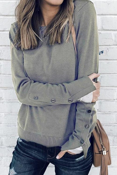 Button Slit Long-Sleeved T-Shirt