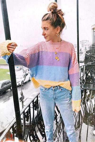 Cute Color Patch Sweater Pullover