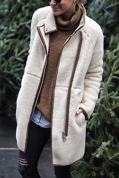Zipper Fuzzy Long Coat