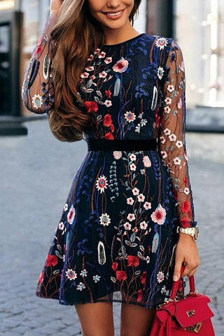 Embroidery O Neck Mini Dress