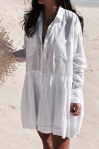 Fashion White Oversize Shirt Beach Cover Up