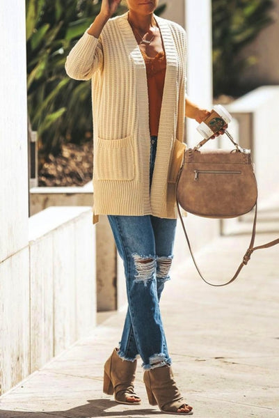 Apricot Shawl Neckline Long Sleeve Cardigan with Pocket