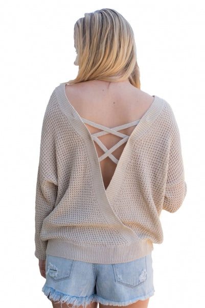 Aprioct Cross Back Hollow-out Sweater