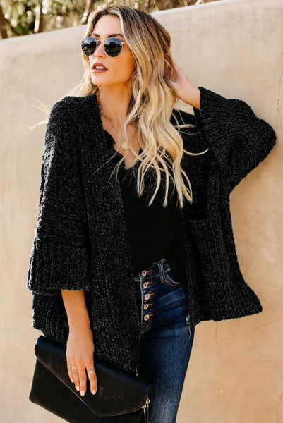 Black Norway Chenille Pocketed Cardigan