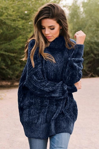 Blue Soft Chenille Sweater