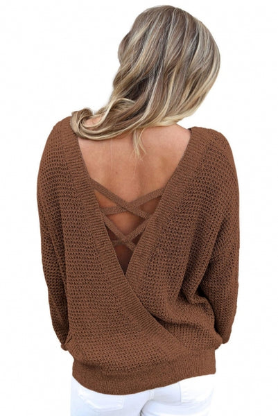 Brown Cross Back Hollow-out Sweater