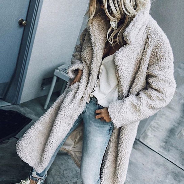 Casual Solid Color Lapel Long Sleeve Plush Coat
